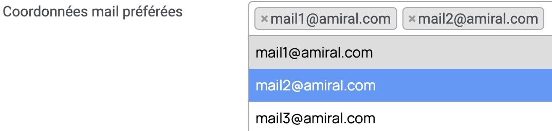 coordonnées mail préférées par chaines de documents
