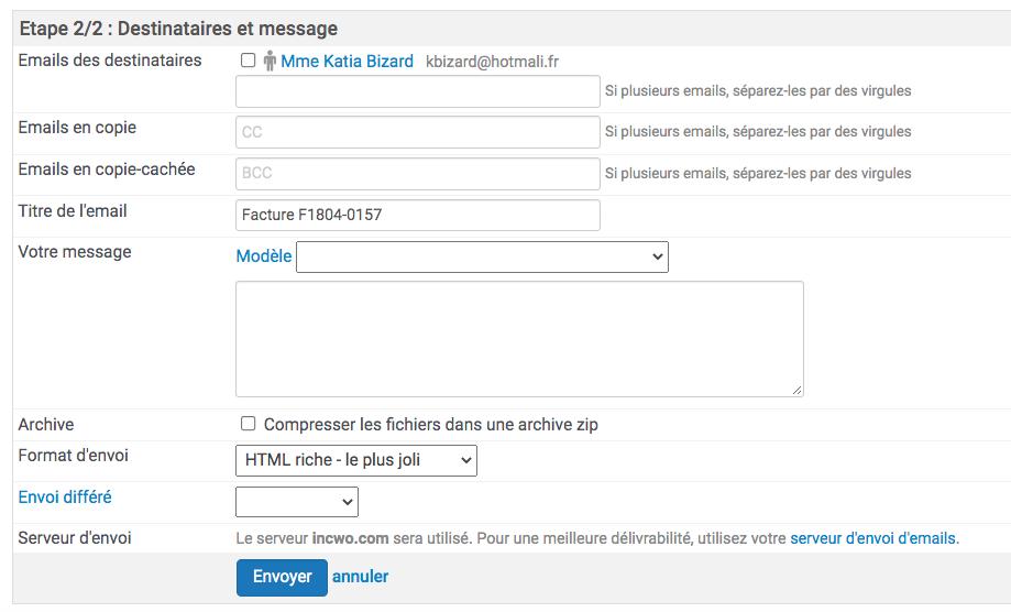 deuxième étape de l'envoi par mail d'une facture, création du message