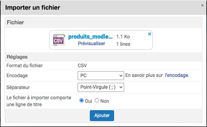 Téléchargement du fichier CSV en réglant le séparateur et l'encodage
