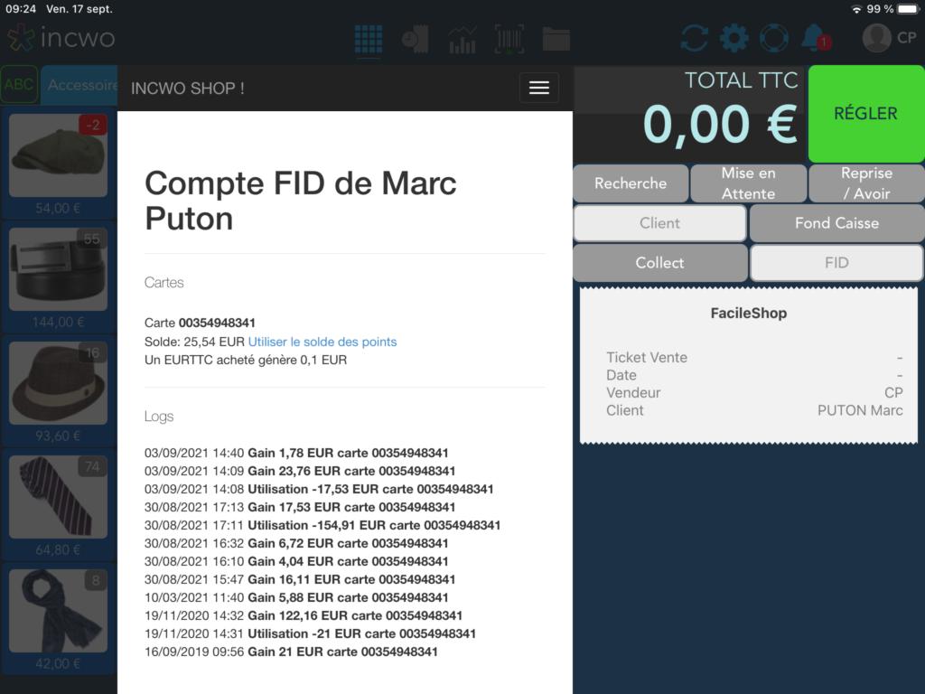 le client est lié à la caisse et on peut consulter le compte fidélité depuis le bouton FID