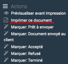 """La génération du PDF du devis s'effectue grâce au clic sur le lien """"Imprimer ce document"""""""