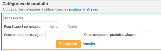 La réglage sur la catégorie de produit du code comptable permet de l'affecter à tous les produits présent dans la catégorie