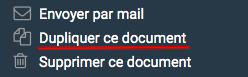 """Le lien """"dupliquer ce document"""" présent dans le bloc de raccourci à gauche pour créer un nouveau devis"""