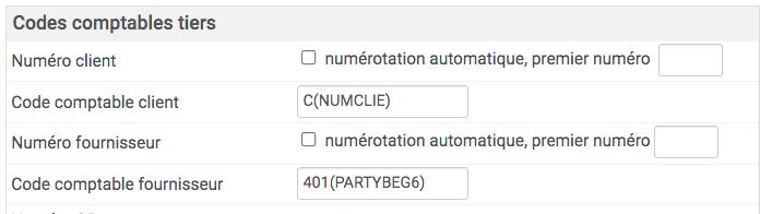 réglage du format des codes comptable des tiers grâce aux variables proposées