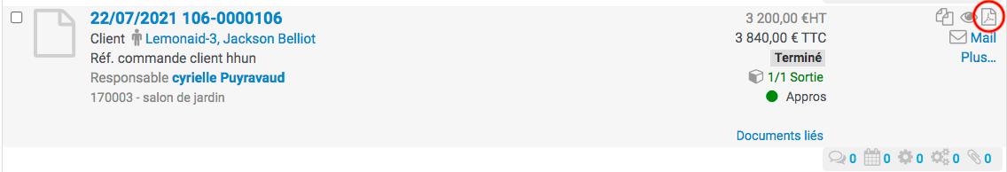Clic sur l'icône fichier PDF du bon de livraison depuis la liste