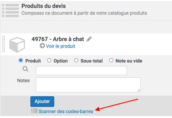 l'activation de l'app ajoute le lien pour scanner des code barres sur les documents commerciaux