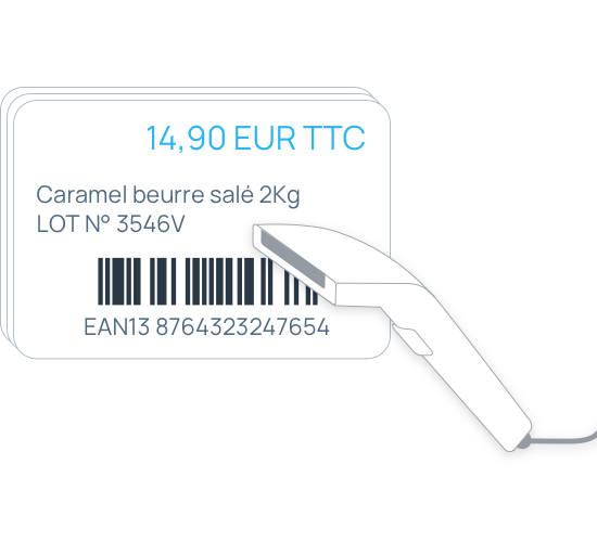 Étiquettes produits avec code barres