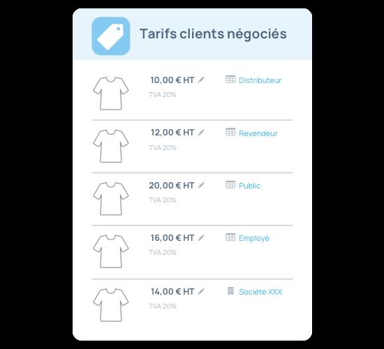 Grille tarifaire et tarifs clients négociés