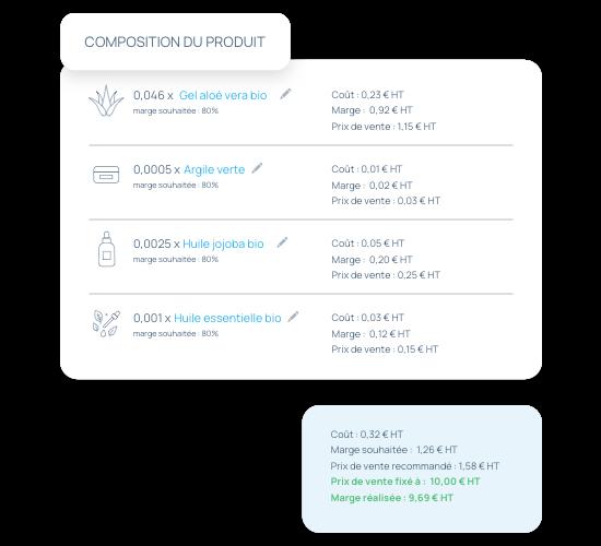 incwo, logiciel de gestion de production. Composez vos produits et calculez vos marges